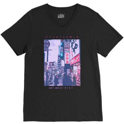 90's  Tokyo Streetwear Aesthetic Graphic Tee V-neck Tee Designed By Time5803