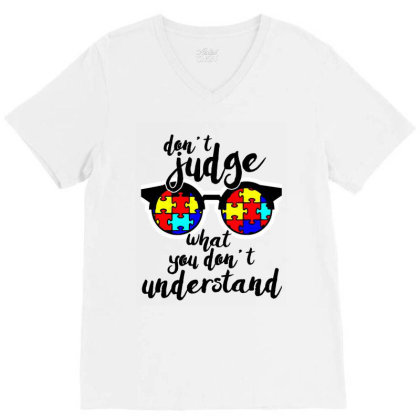Autism Awareness Gift Design For Autistic V-neck Tee Designed By Ainazee Tees