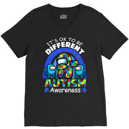 A.mong Us Autism Awareness Easter T Shirt V-neck Tee Designed By Time5803