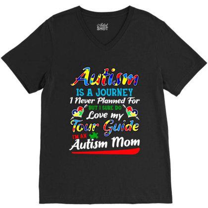 Autism Mom Shirt Autism Awareness V-neck Tee Designed By Ainazee Tees