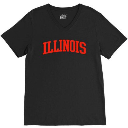 Illinois Il Vintage Athletic Style V-neck Tee Designed By Creative Tees