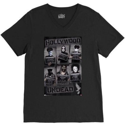 Hollywood Undead Wanted Poster V-neck Tee Designed By Funtee