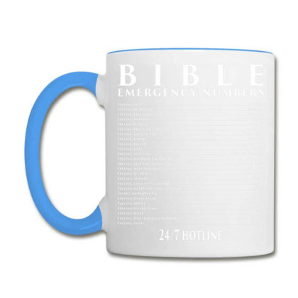 Bible Emergency Hotline Numbers   Cool Christian T Shirts T Shirt Coffee Mug Designed By Cuser3143