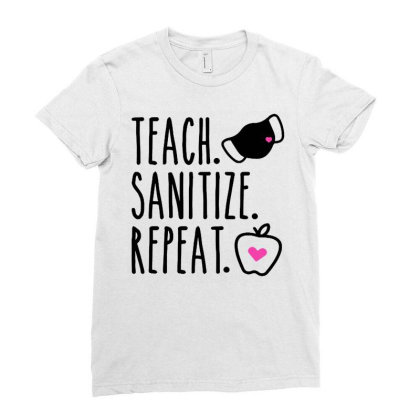 Teach Sanitize Repeat Cute Teacher Mask Funny Ladies Fitted T-shirt Designed By Creative Tees