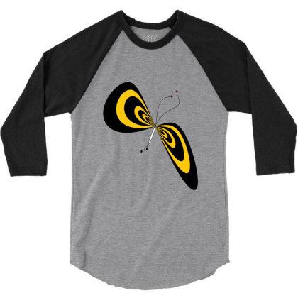 Butterfly 3/4 Sleeve Shirt Designed By Flyingbird