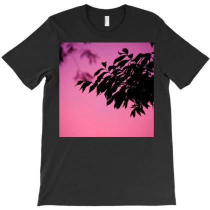 Black Leaves On Pink Baground T-shirt Designed By Kishi Shameera