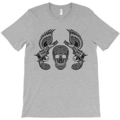 Decorative Ornate Skull & Guns T-shirt Designed By Chiks