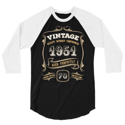 70th Birthday Gift Gold Vintage 1951 Aged Perfectly Essential T Shirt 3/4 Sleeve Shirt Designed By Home12