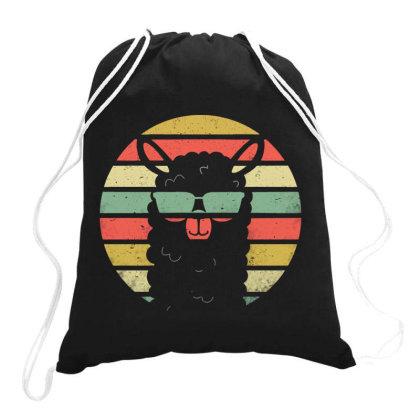 Alpaca Llama Purple Vintage Retro Drawstring Bags Designed By Blqs Apparel