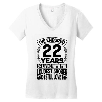 22nd Wedding Anniversary Gifts For Her 22 Years Of Marriage Women's V-neck T-shirt Designed By Mirazjason