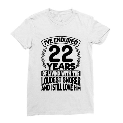 22nd Wedding Anniversary Gifts For Her 22 Years Of Marriage Ladies Fitted T-shirt Designed By Mirazjason