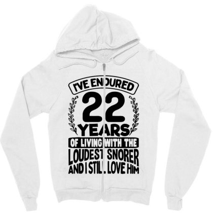 22nd Wedding Anniversary Gifts For Her 22 Years Of Marriage Zipper Hoodie Designed By Mirazjason