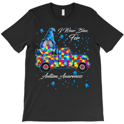 I Wear Blue For Autism Awareness Gnomes Heart Autism T Shirt T-shirt Designed By Time5803