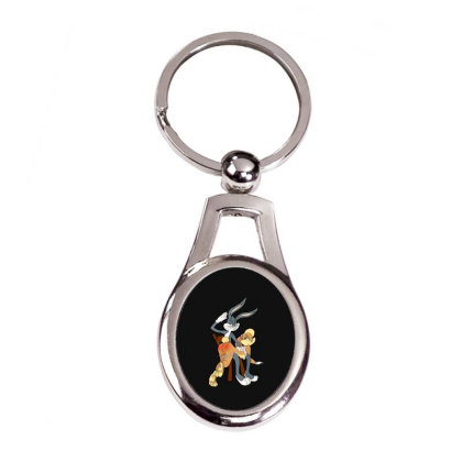 Sexy Rabbits Silver Oval Keychain Designed By Frizidan