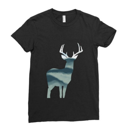 Antler In Mountains Ladies Fitted T-shirt Designed By Thevibrantthread