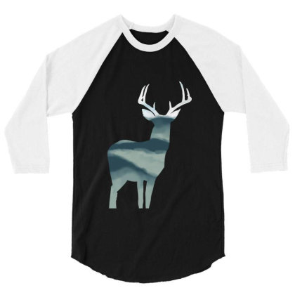 Antler In Mountains 3/4 Sleeve Shirt Designed By Thevibrantthread