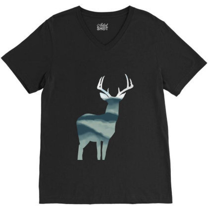 Antler In Mountains V-neck Tee Designed By Thevibrantthread