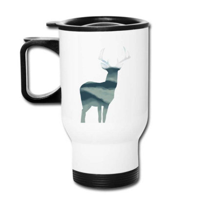 Antler In Mountains Travel Mug Designed By Thevibrantthread
