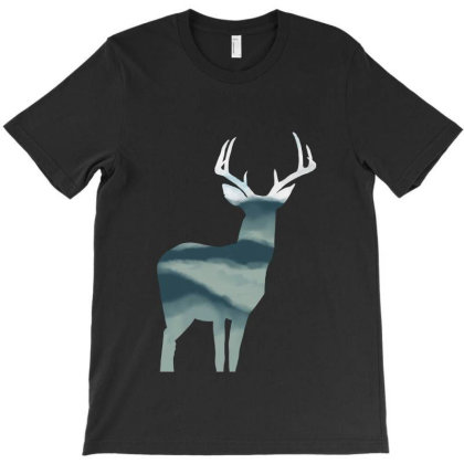 Antler In Mountains T-shirt Designed By Thevibrantthread