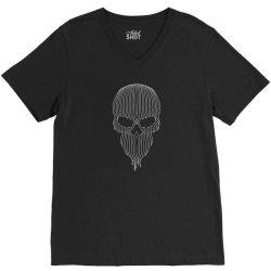 striped skull V-Neck Tee   Artistshot