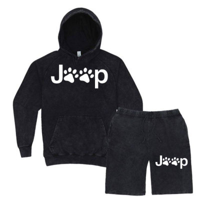Funny White Jeep Paw Prints Dogs Vintage Hoodie And Short Set Designed By Meganphoebe