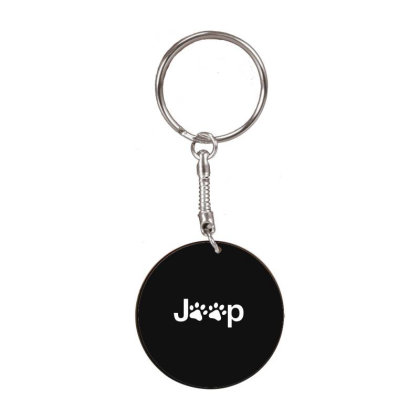 Funny White Jeep Paw Prints Dogs White Round Keychain Designed By Meganphoebe