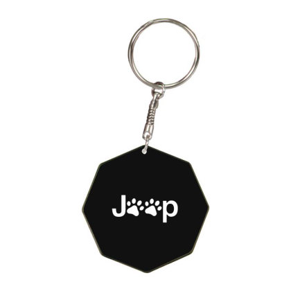 Funny White Jeep Paw Prints Dogs Octagon Keychain Designed By Meganphoebe