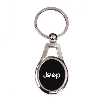 Funny White Jeep Paw Prints Dogs Silver Oval Keychain Designed By Meganphoebe