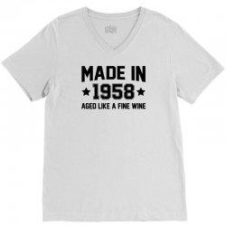 Made In 1958 Aged Like A Fine Wine V-Neck Tee | Artistshot
