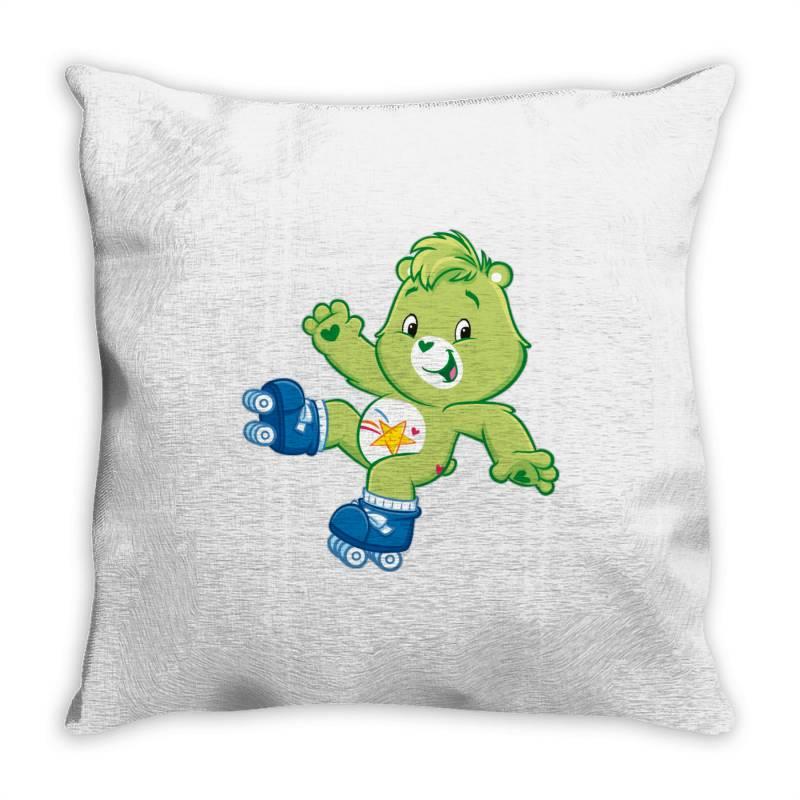 Rainbow Green Skate Bear Throw Pillow | Artistshot