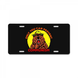 only you can prevent communism camping bear License Plate | Artistshot