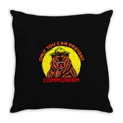 only you can prevent communism camping bear Throw Pillow | Artistshot