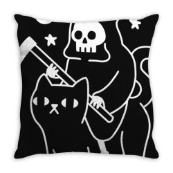 death rid .es a black cat classic t shirt Throw Pillow | Artistshot