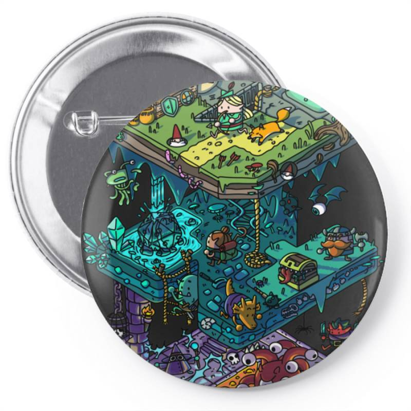 Dung .eons And Isometric Drago Classic T Shirt Pin-back Button | Artistshot