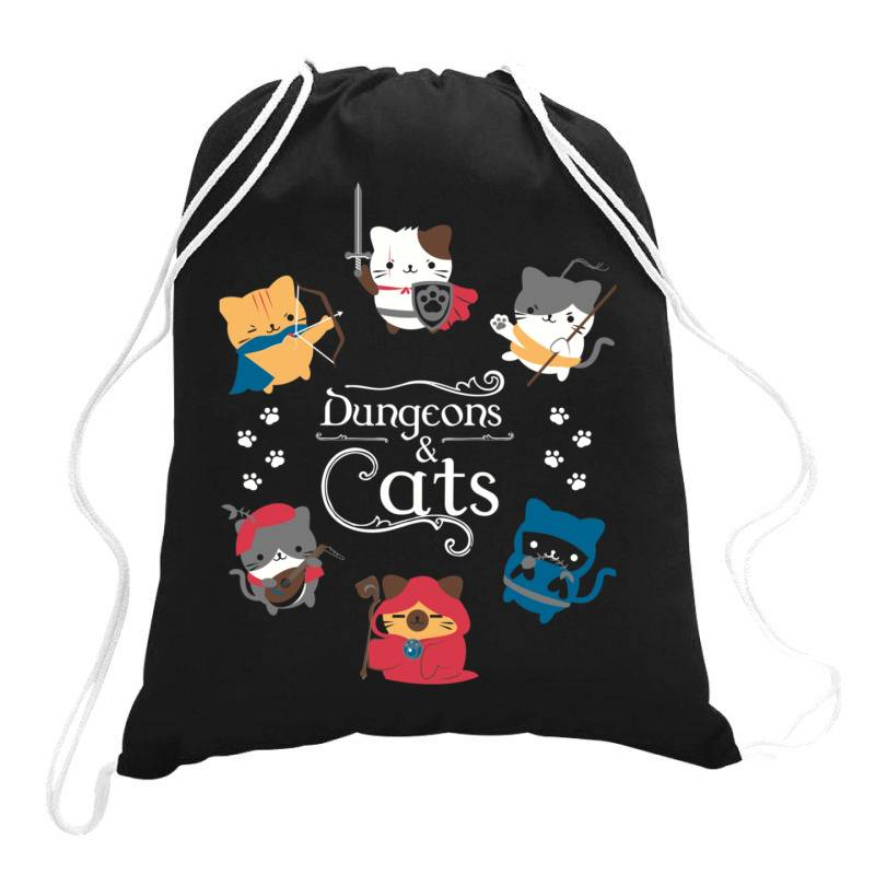 Dung .eons And Cats Essential T Shirt Drawstring Bags   Artistshot