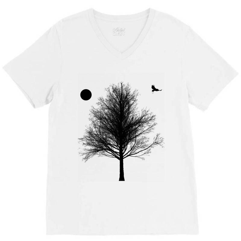 Tree, Eagle Silhouette Calmness Nature V-neck Tee | Artistshot