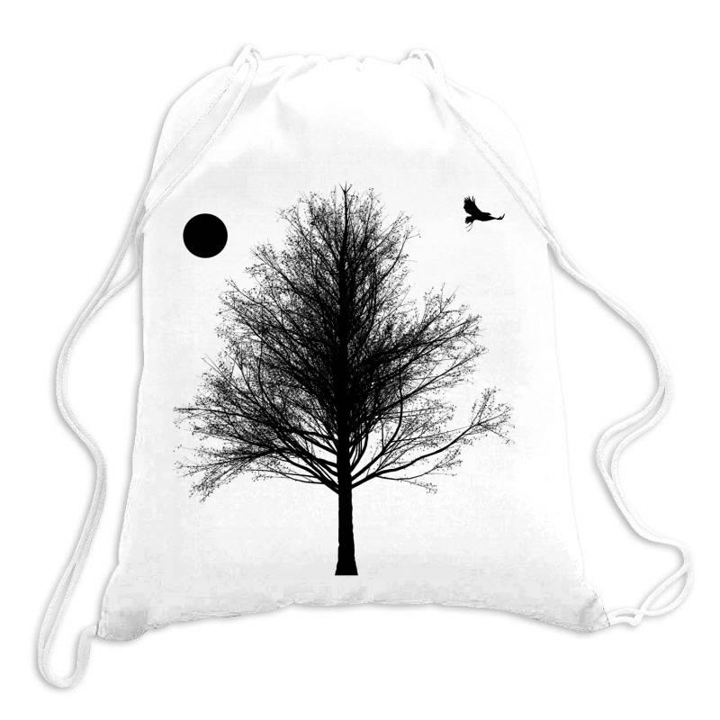 Tree, Eagle Silhouette Calmness Nature Drawstring Bags | Artistshot