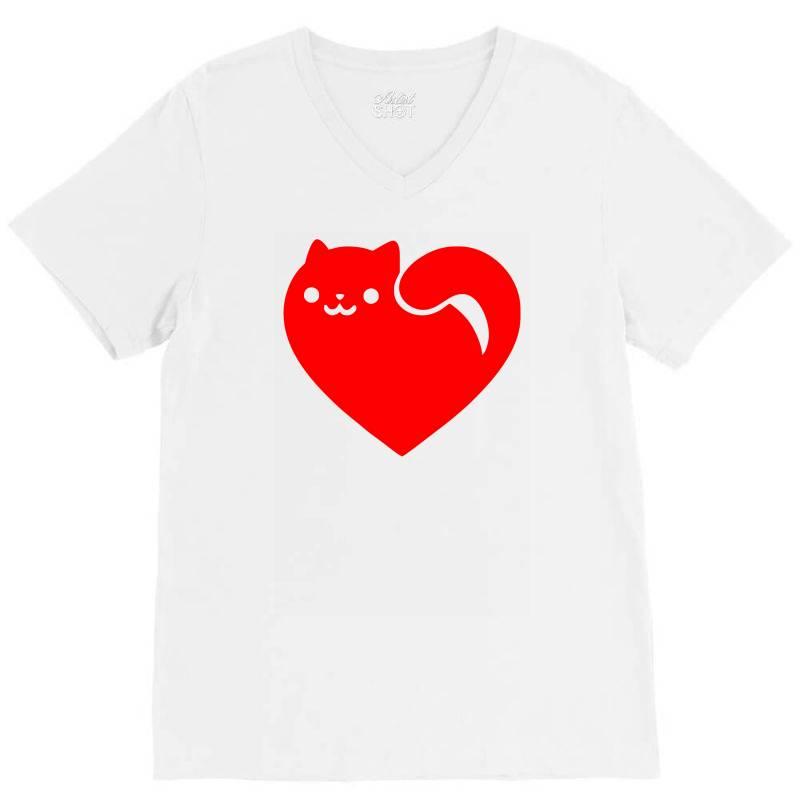 Cats Heart V-neck Tee | Artistshot
