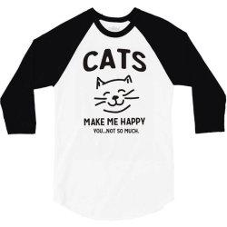 cats make me happy 3/4 Sleeve Shirt | Artistshot