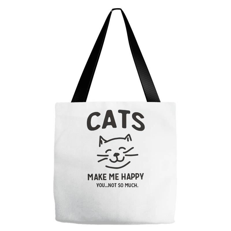 Cats Make Me Happy Tote Bags | Artistshot