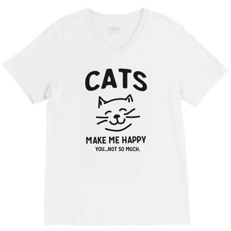 Cats Make Me Happy V-neck Tee | Artistshot