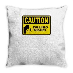 caution falling wizards Throw Pillow | Artistshot