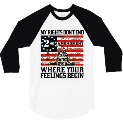2nd Amendment Usa Flag 3/4 Sleeve Shirt Designed By Mirazjason