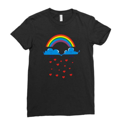 Clouds Rainbow Ladies Fitted T-shirt Designed By Dony_store