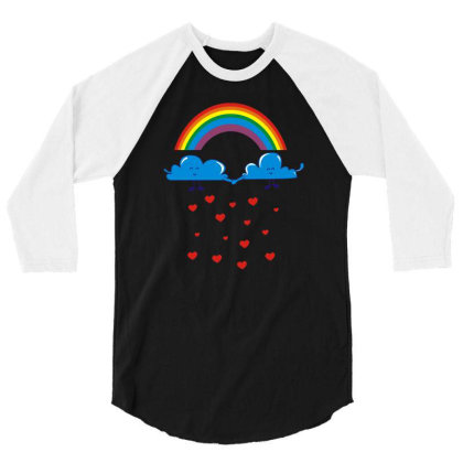 Clouds Rainbow 3/4 Sleeve Shirt Designed By Dony_store