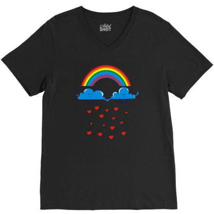 Clouds Rainbow V-neck Tee Designed By Dony_store