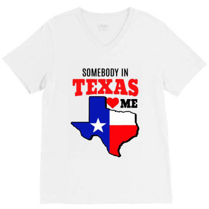 State Of Texas Somebody Loves Me V-neck Tee Designed By Mirazjason