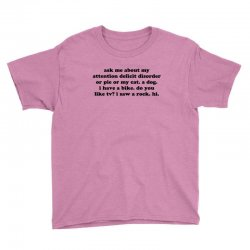 Ask Me About My Attention Deficit Disorder Youth Tee Designed By Jomadado