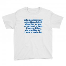 Adhd Humorous Quote Youth Tee Designed By Jomadado