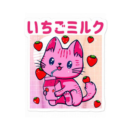 Vaporwave Strawberry Cat 90s Japanese Kawaii Strawberry Milk Sticker Designed By Mirazjason